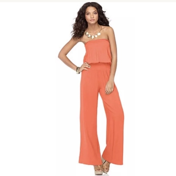 d2cc747f984 Sunny leigh pants new strapless romper jumpsuit coral poshmark jpg 580x580 Coral  strapless jumpsuit